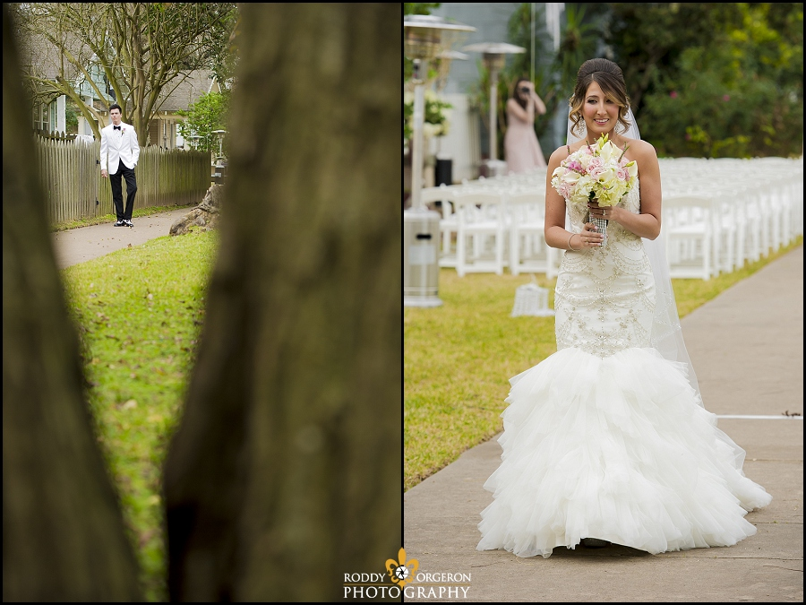 bride and groom first look walk