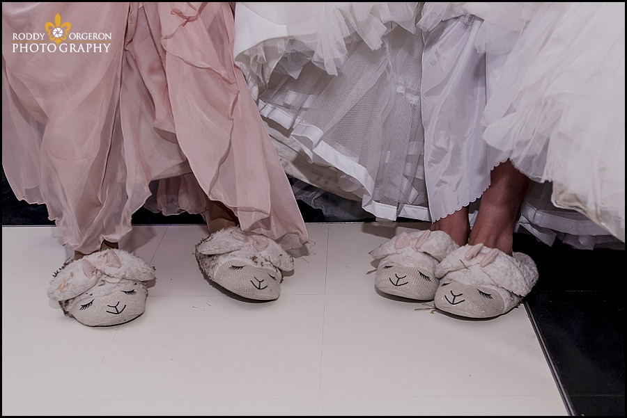 wedding slippers on bride and bridesmaid