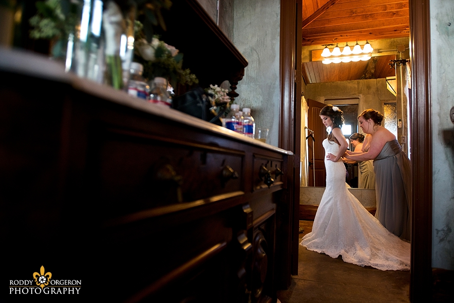 Bride getting ready at The Olde Dobbin Station in Texas