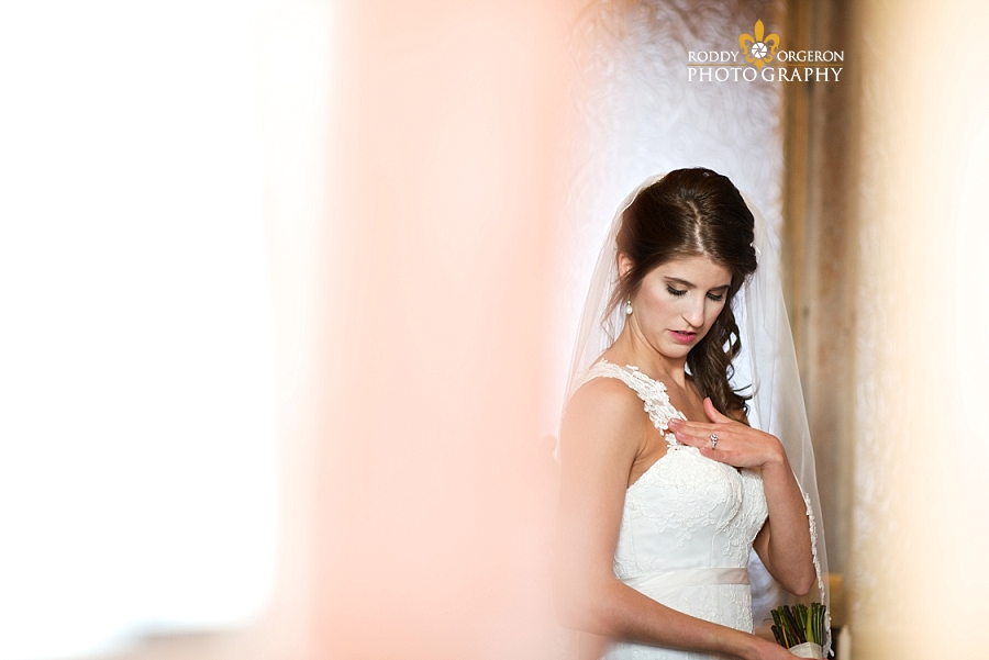 Beautiful bride getting ready at The Olde Dobbin Station in Texas