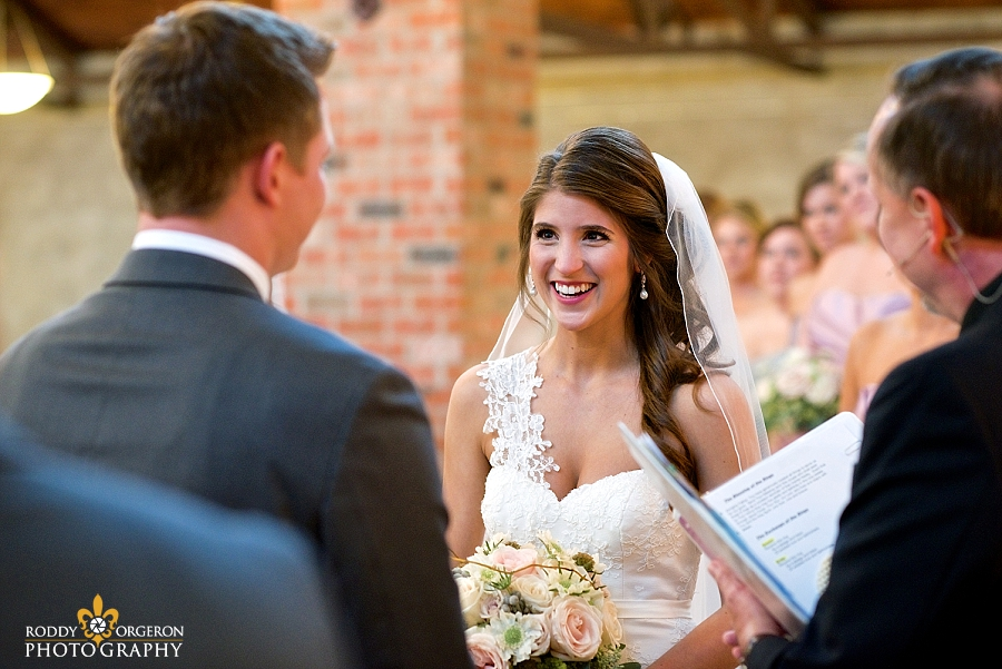 Bride staring into the eyes of her groom at The Olde Dobbin Station in Texas