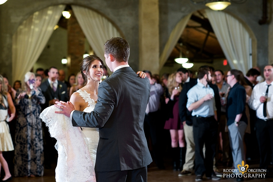 Bride and groom first dance at The Olde Dobbin Station in Texas