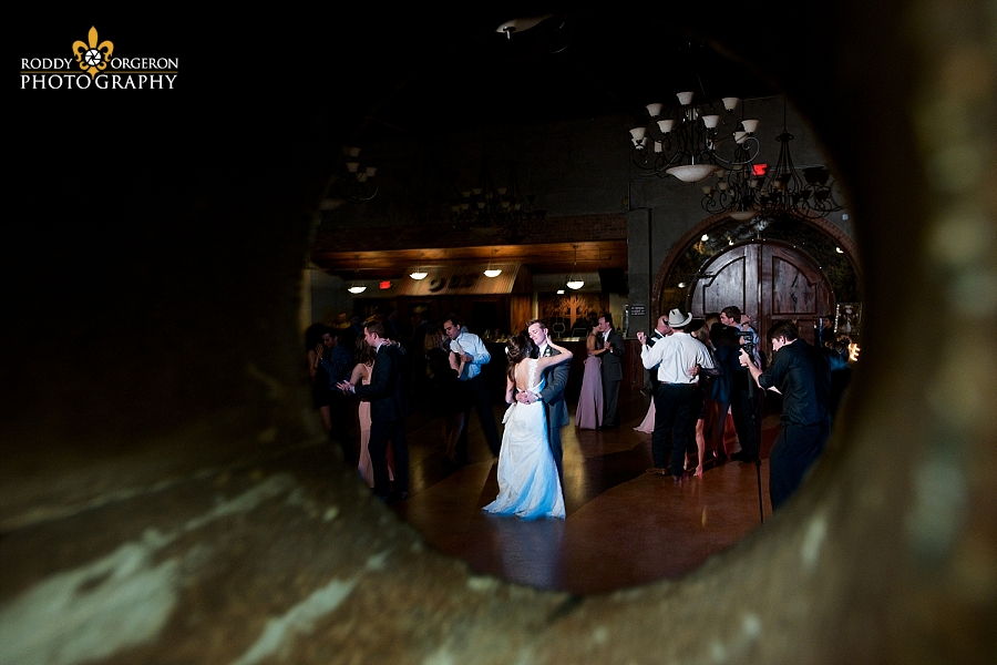 Bride and groom dancing at The Olde Dobbin Station in Texas