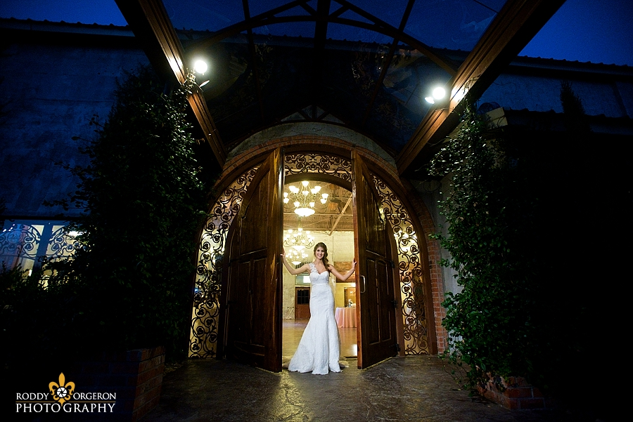 Bride poses for some portraits at The Olde Dobbin Station in Texas