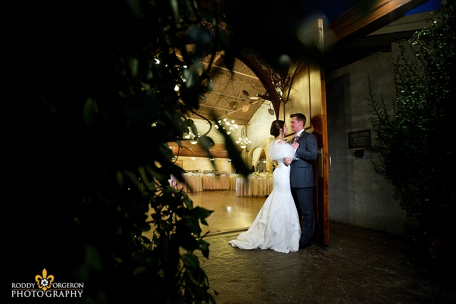 Bride and groom pose for some portraits at The Olde Dobbin Station in Texas