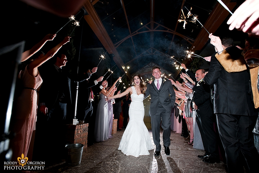 Sparkler exit with bride and groom at The Olde Dobbin Station in Texas