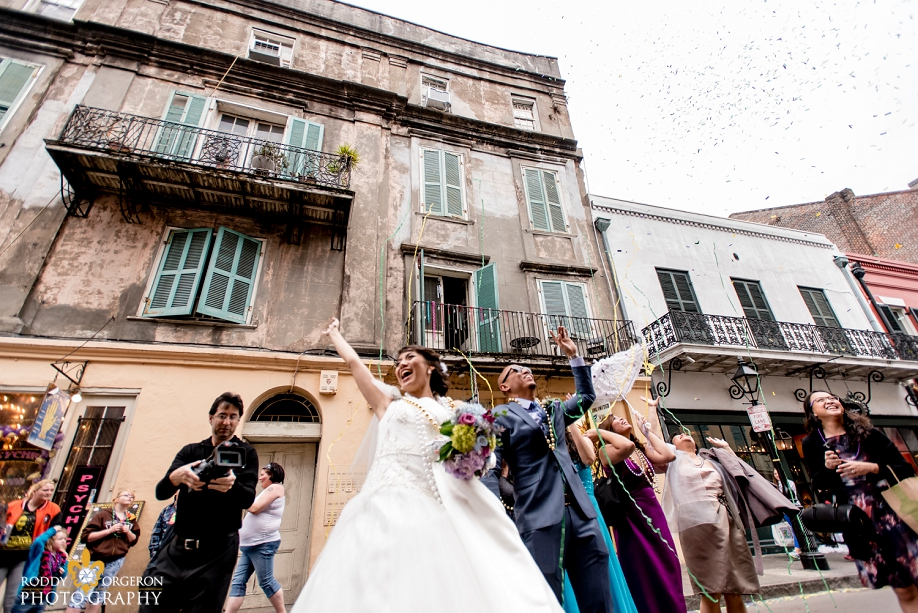bride and groom in the French Quarter New Orleans
