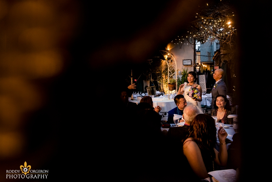 bride and groom at The Court of two Sisters in the French Quarter New Orleans