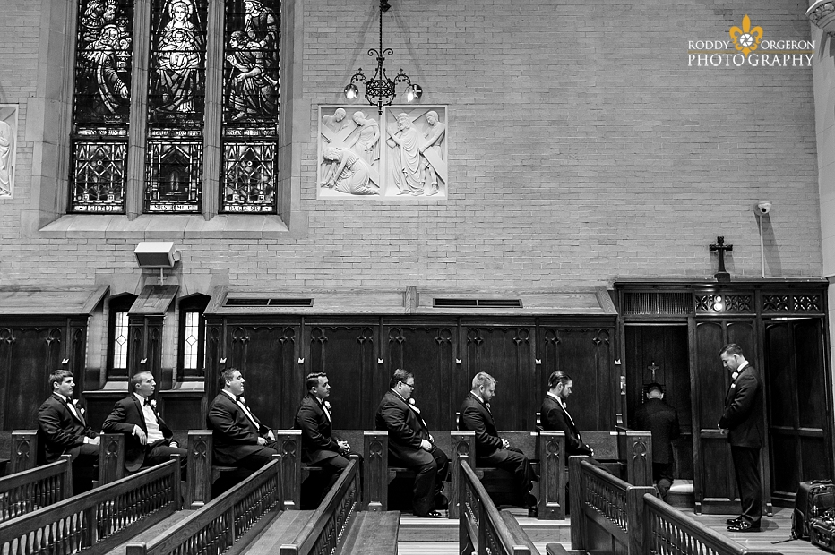 groomsmen waiting to go to confession