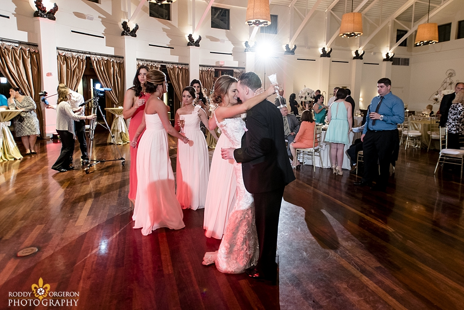 bride and groom dance on the dance floor at The Audubon Tea Room in New Orleans