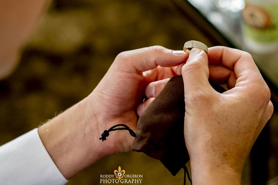 Hotel Monteleone groom holding ring