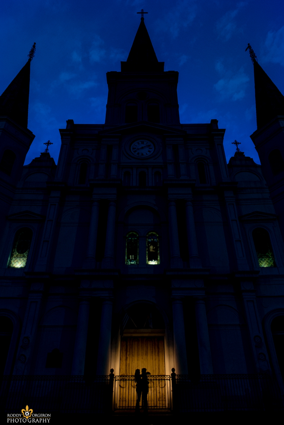 Saint Louis Cathedral Church with couple silhouette
