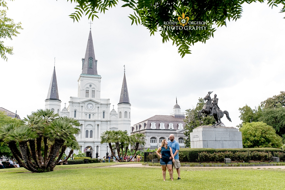Celebrating their wedding proposal in Jackson Square