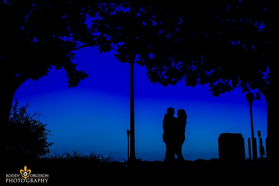 silhouette of couple for a New Orleans engagement session