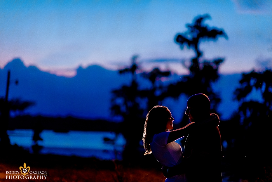 lafayette engagement session silhouette by the swamp