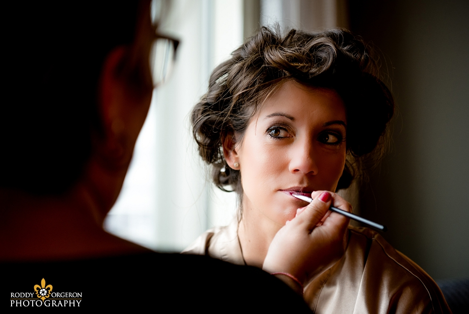 Bride getting ready at Loews hotel