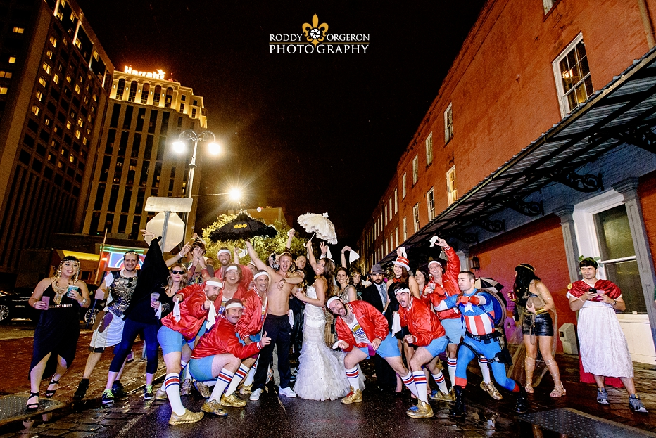 610 Stompers with Bride and Groom second line at wedding