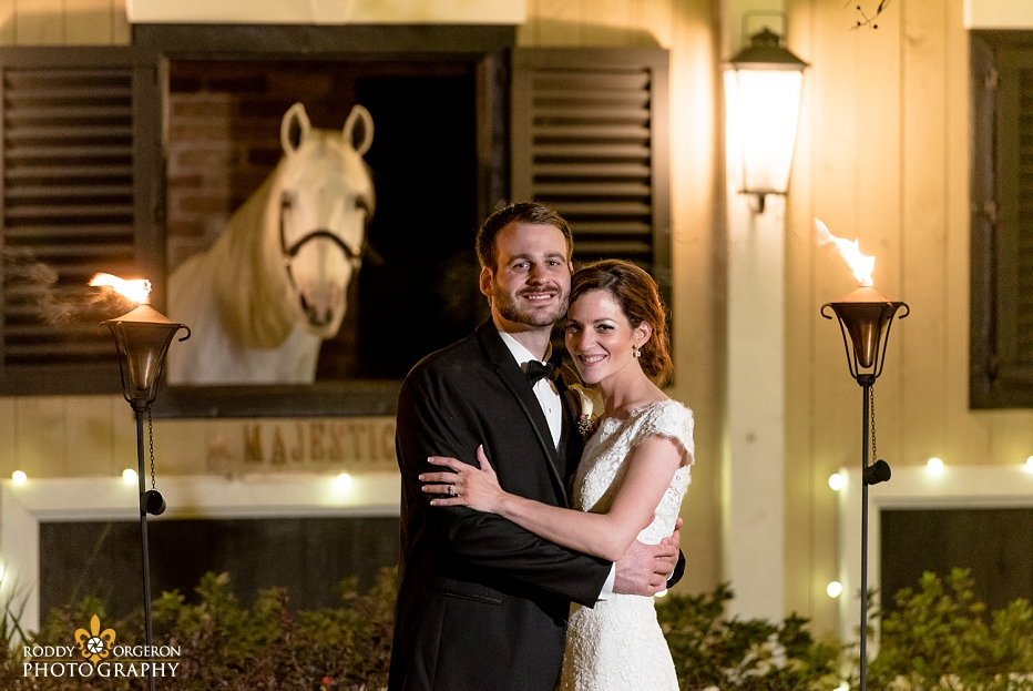 bride and groom portrait with Majestic at Southern Oaks Plantation