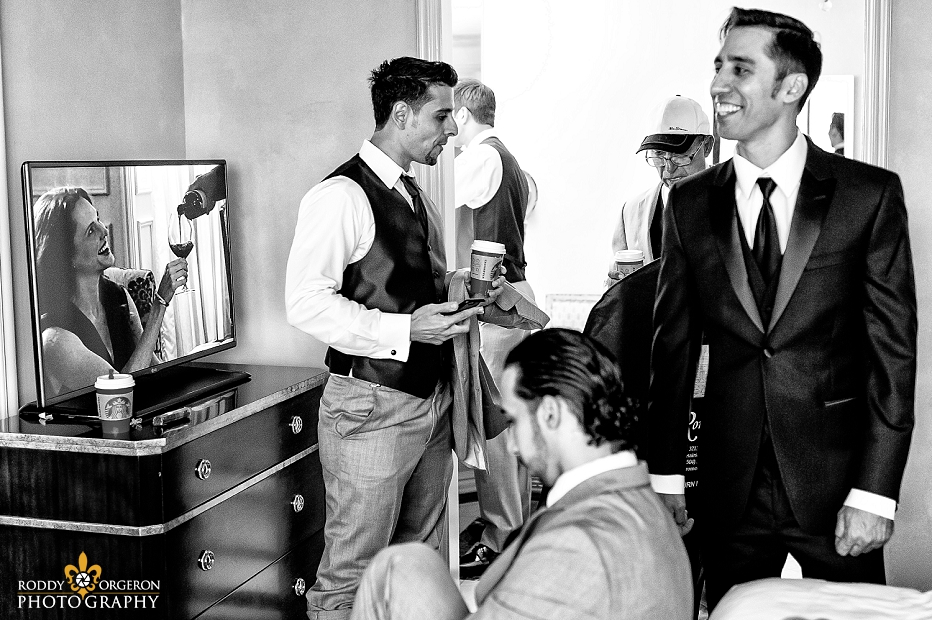 Groom getting ready at the hotel