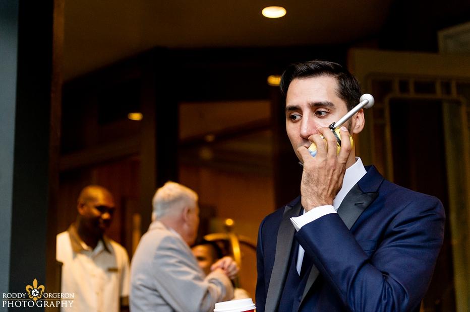groom talking to bride on minion radio