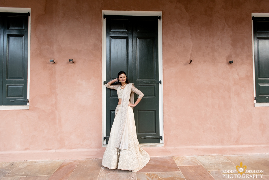 Bride in the French Quarter for her bridal session in New Orleans