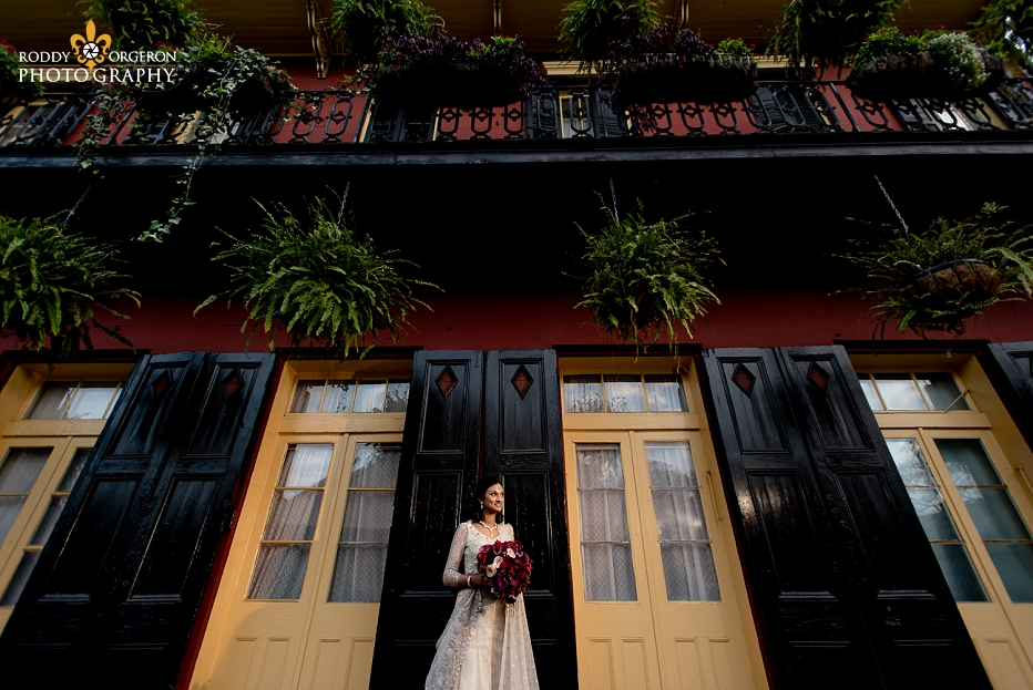Bride in wedding dress in New Orleans