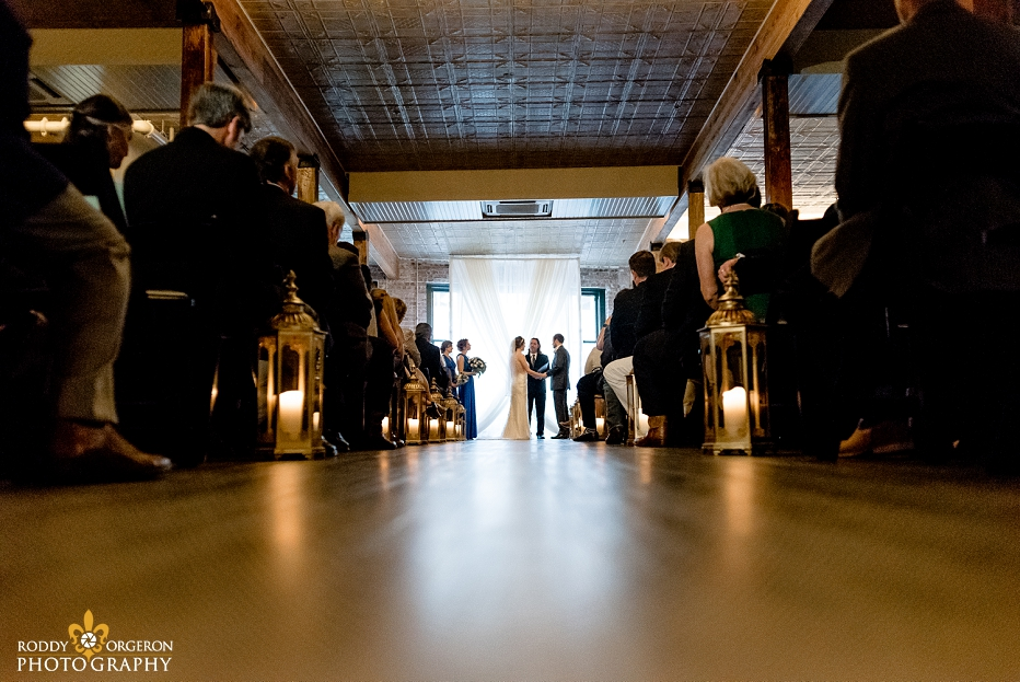 Bride and groom exchange vows at the Chicory wedding venue in New Orleans