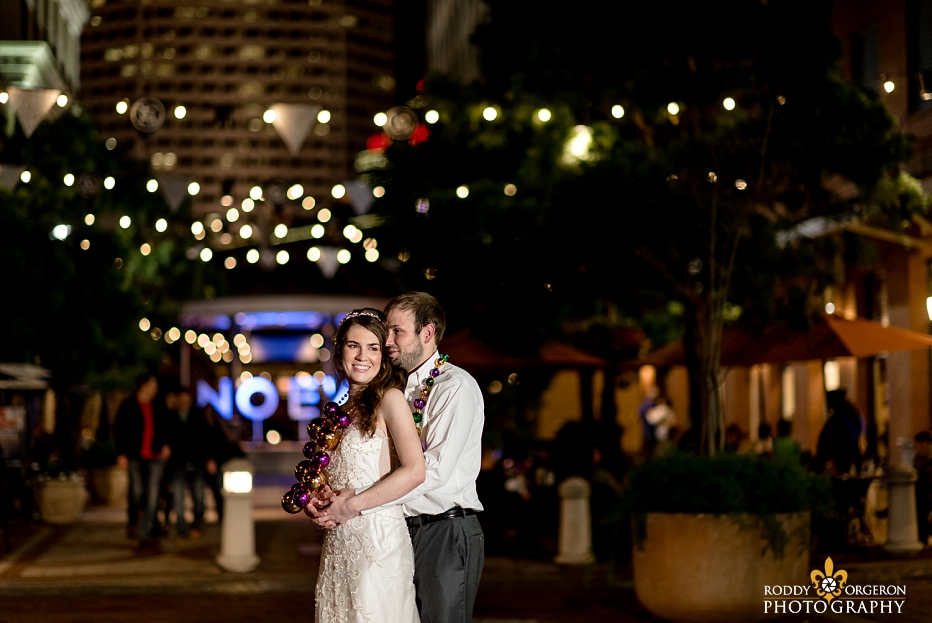 bride and groom at The Chicory wedding venue in New Orleans