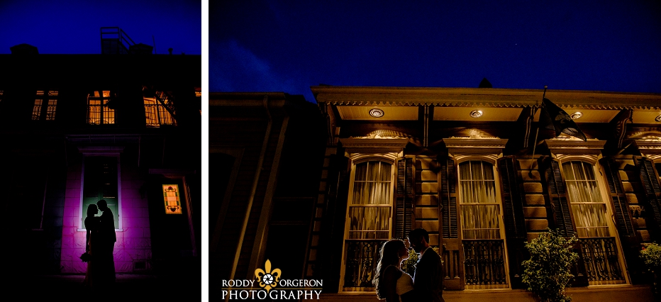 Bride and groom in the French Quarter night photography