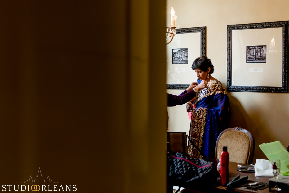 Indian wedding bride prep - mother of the bride getting ready at the Roosevelt hotel in New Orleans