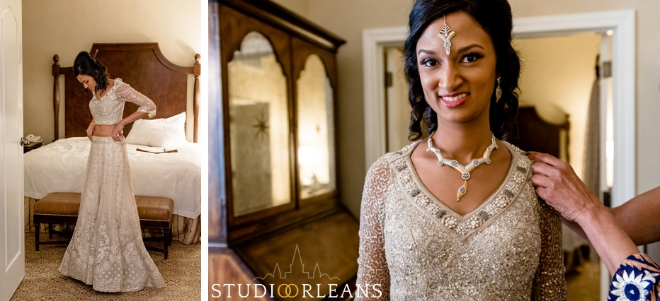 Indian wedding bride prep at the Roosevelt hotel in New Orleans