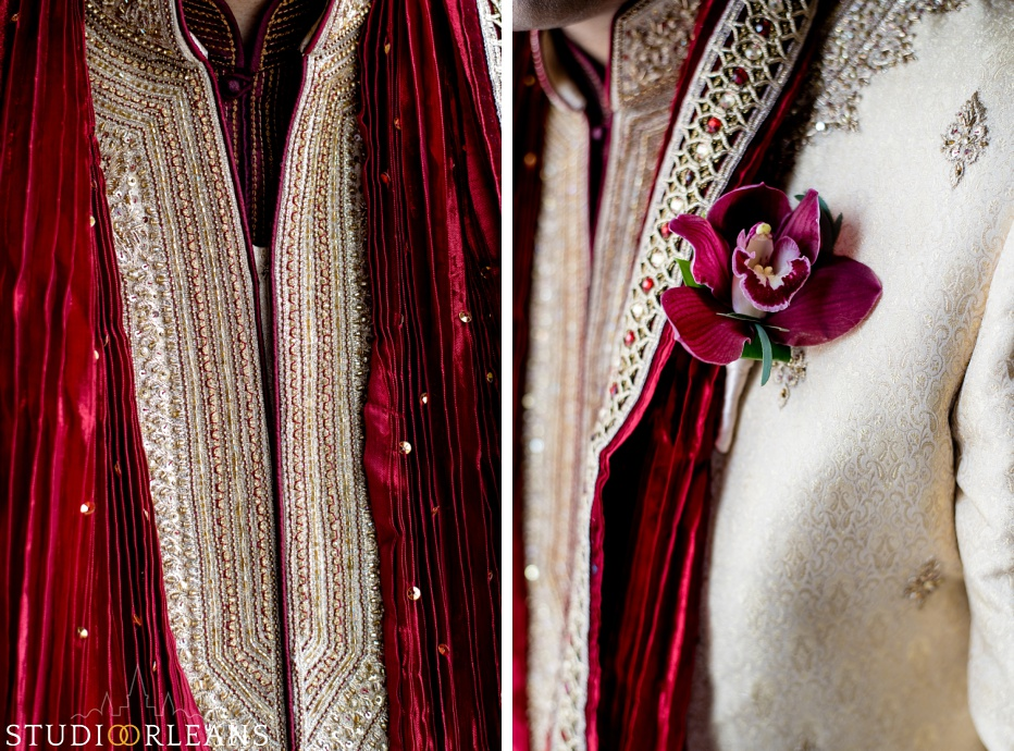 Indian wedding the grooms Sherwani at the Roosevelt hotel in New Orleans