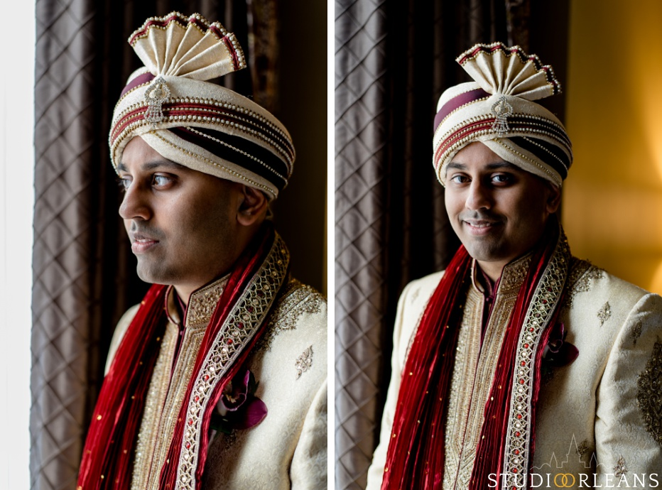Indian wedding the groom looking out the window at the Roosevelt hotel in New Orleans