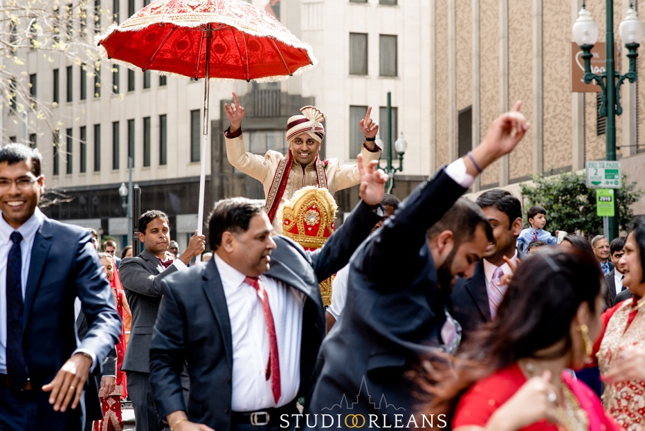 Indian wedding the baraat at the Roosevelt hotel in New Orleans