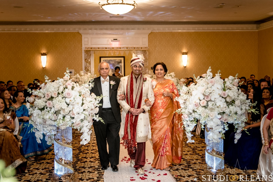Indian wedding ceremony grooms mom and dad at the Roosevelt hotel in New Orleans