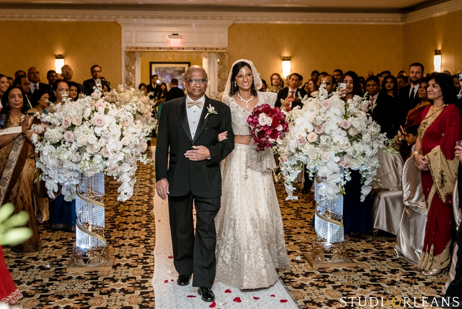 Indian wedding ceremony bride and her father at the Roosevelt hotel in New Orleans