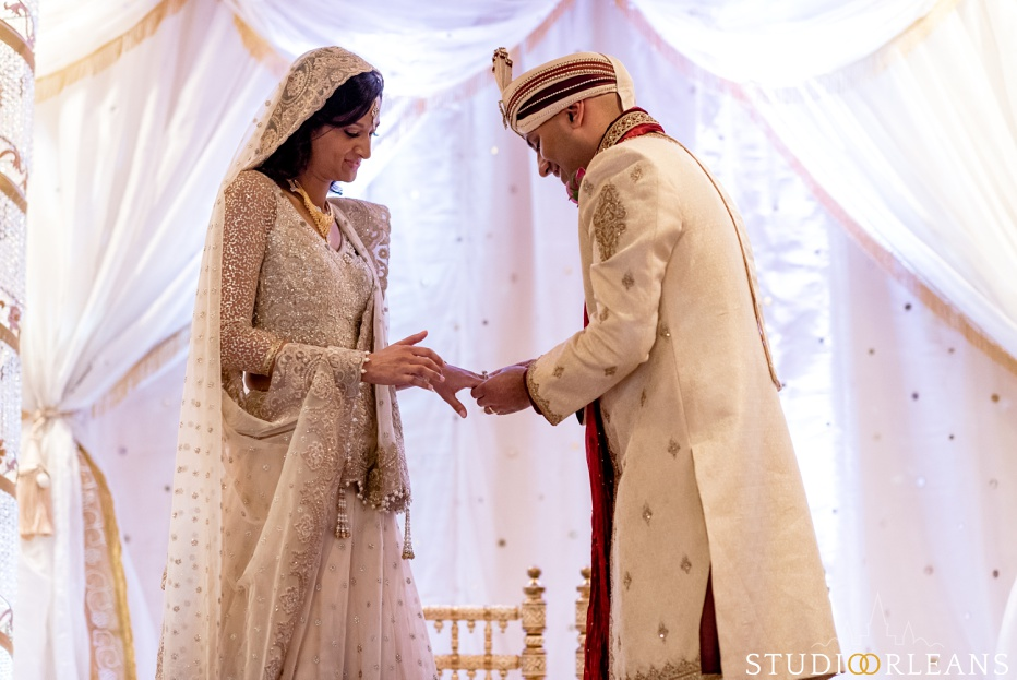 Indian wedding at the Roosevelt hotel in New Orleans ring exchange