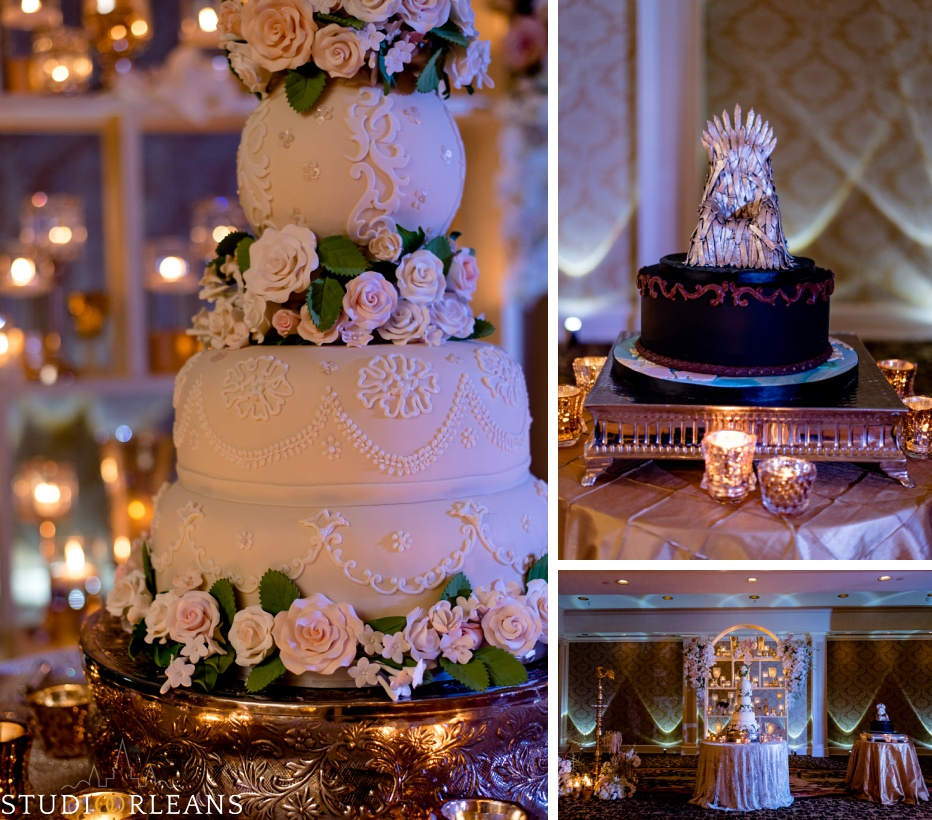 New Orleans Indian wedding cake at the reception -The Roosevelt hotel