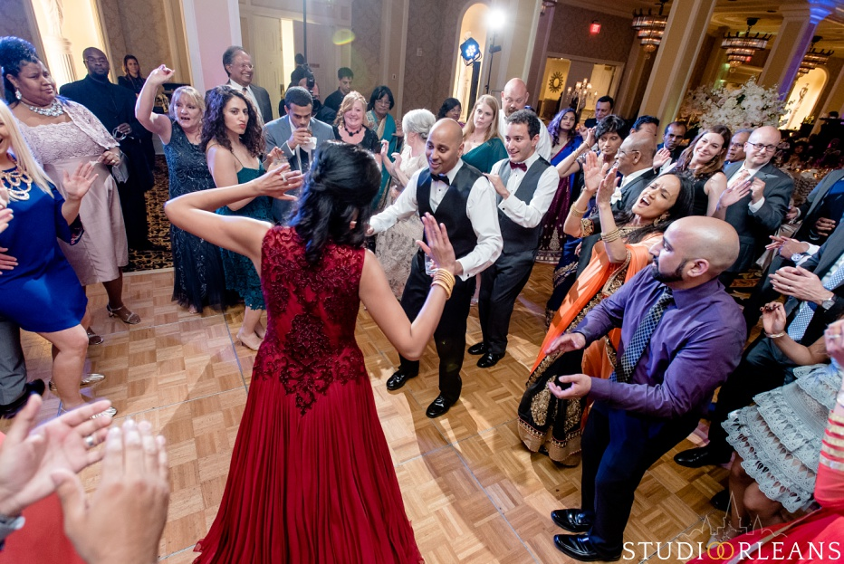 The Roosevelt hotel Indian wedding reception - bride and groom dancing