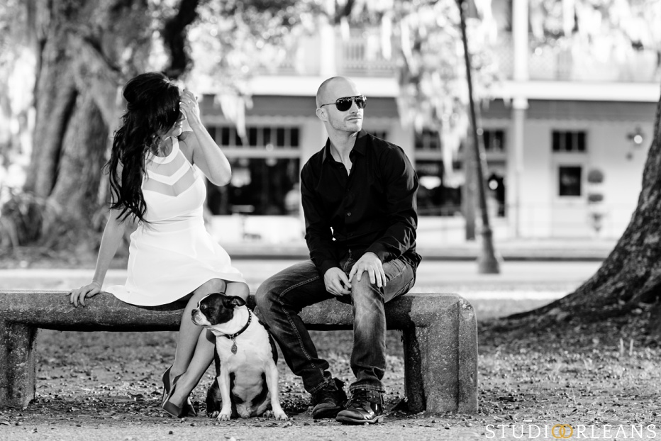 City Park Engagement Session in New Orleans with a couple and their cute dog Taz
