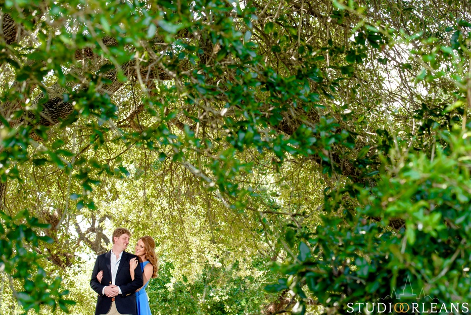 Engagement Session in City Park by the beautiful Oak trees in the background