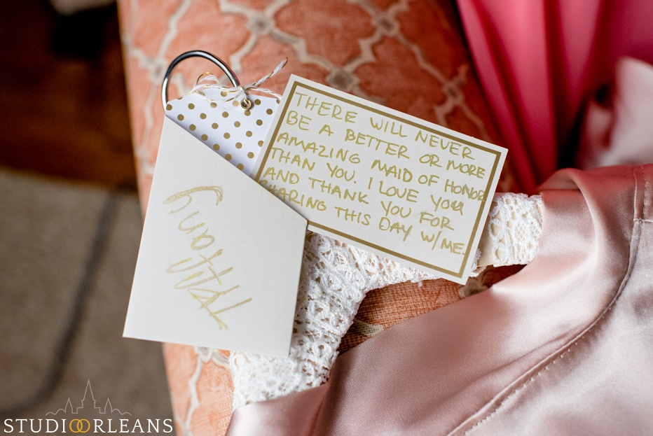 Beautiful note written to a bridesmaid from the bride at Cedar Grove Plantation wedding. Photo by Studio Orleans New Orleans Photographers