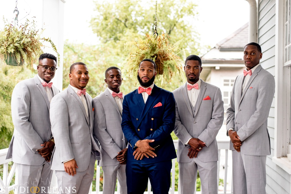 The groom and groomsmen ready for the big day. Photo by Studio Orleans New Orleans Photographers