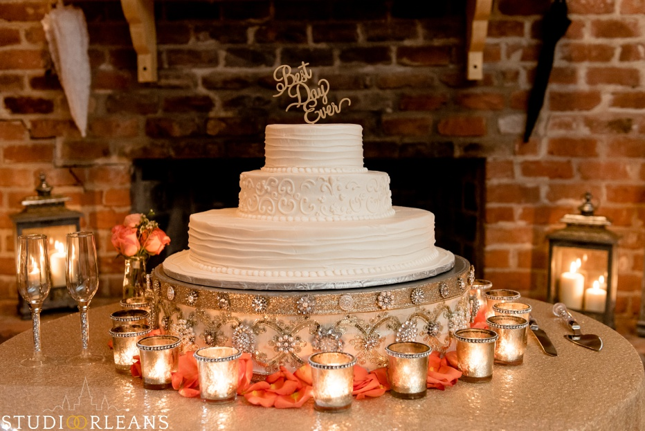 Best Day Ever cake at Cedar Grove Plantation. Photo by Studio Orleans New Orleans Photographers