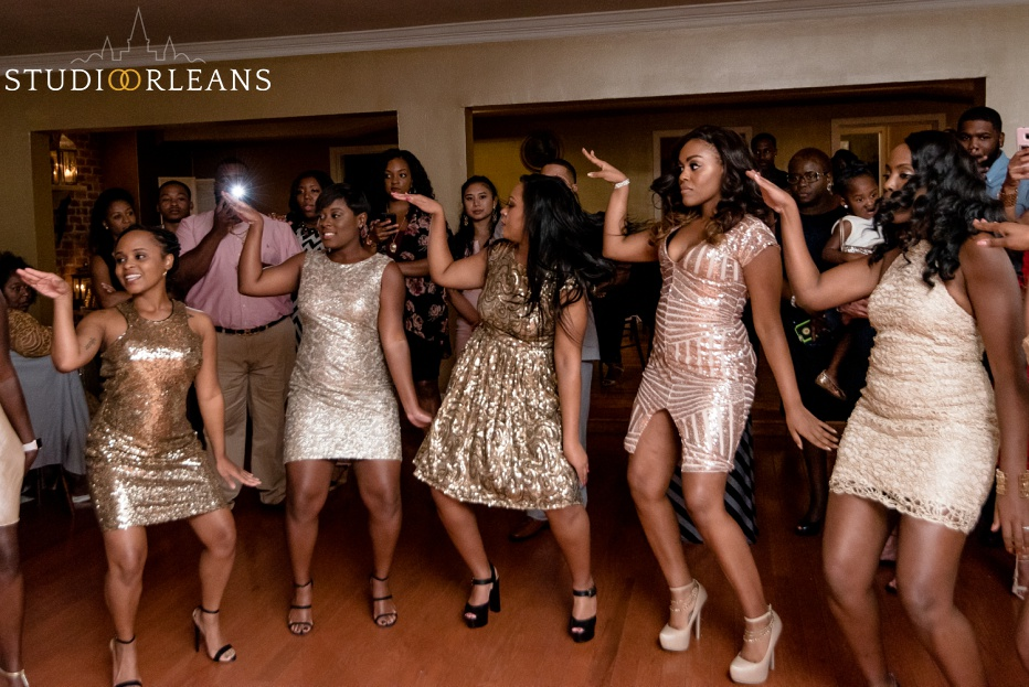 The girls dance with friends at Cedar Grove Plantation. Photo by Studio Orleans New Orleans Photographers