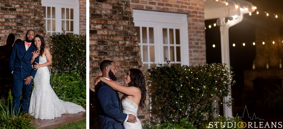 The bride & groom do some intimate night portraits at Cedar Grove Plantation. Photo by Studio Orleans New Orleans Photographers