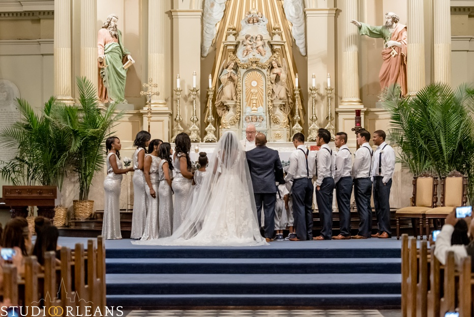 A bride, groom and the entire bridal party