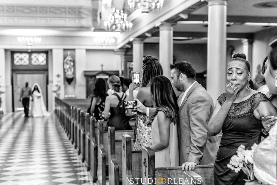 A bride walking into the Saint Louis Cathedral