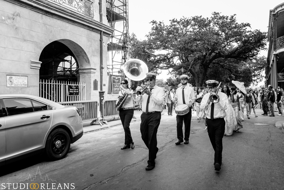 Big Fun Brass band kicks off the second line as we leave the Saint Louis Cathedral in New Orleans