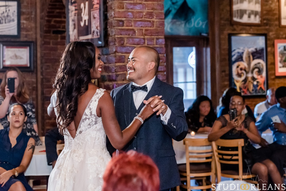 An Oceana Grill wedding in New Orleans first dance with the bride and groom
